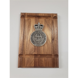 Cap Badge Plaque, 7 x 10 on Wood